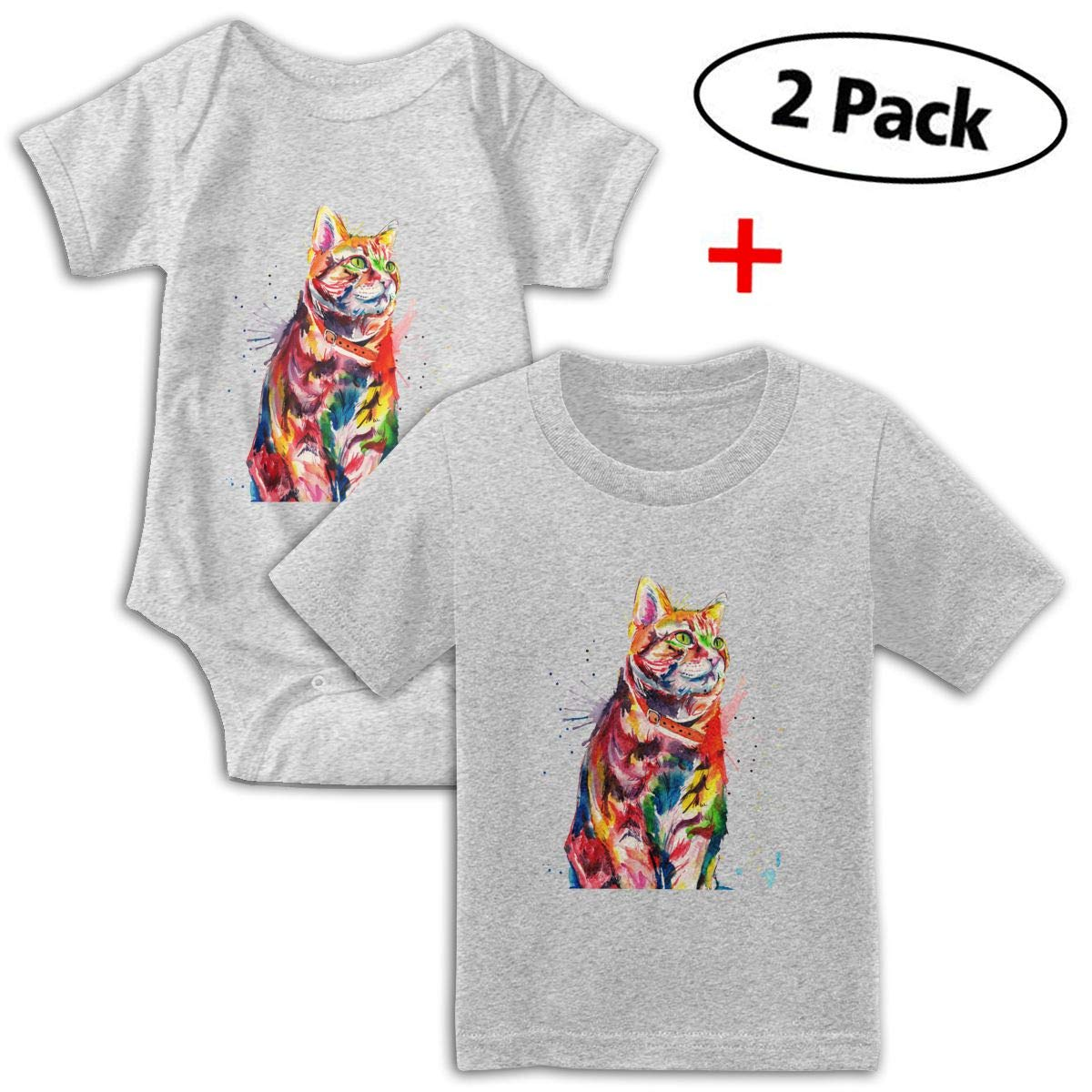 Watercolor Cat Colorful Babys Boys /& Girls Short Sleeve Baby Climbing Clothes and Tshirt