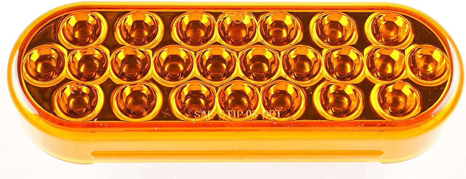 ALL STAR TRUCK PARTS Super Bright High Powered Strobe for Towing 24 LED DOT//SAE Approved /& Marked Waterproof 6 Oval LED Recessed Amber Strobe Light With Grommet