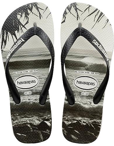 Amazon.com | Havaianas Unisex Mens Boys Top Photo Print Flat Flip Flops -  Black | Sandals