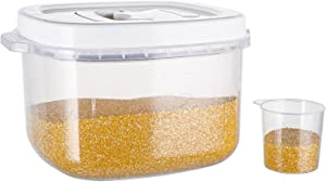TOPZEA Rice Storage Container - 10 Lbs BPA Free Plastic Cereal Container Box with Measuring Cup, Airtight Food Storage Bin for Rice Cereal Flour Kitchen Storage