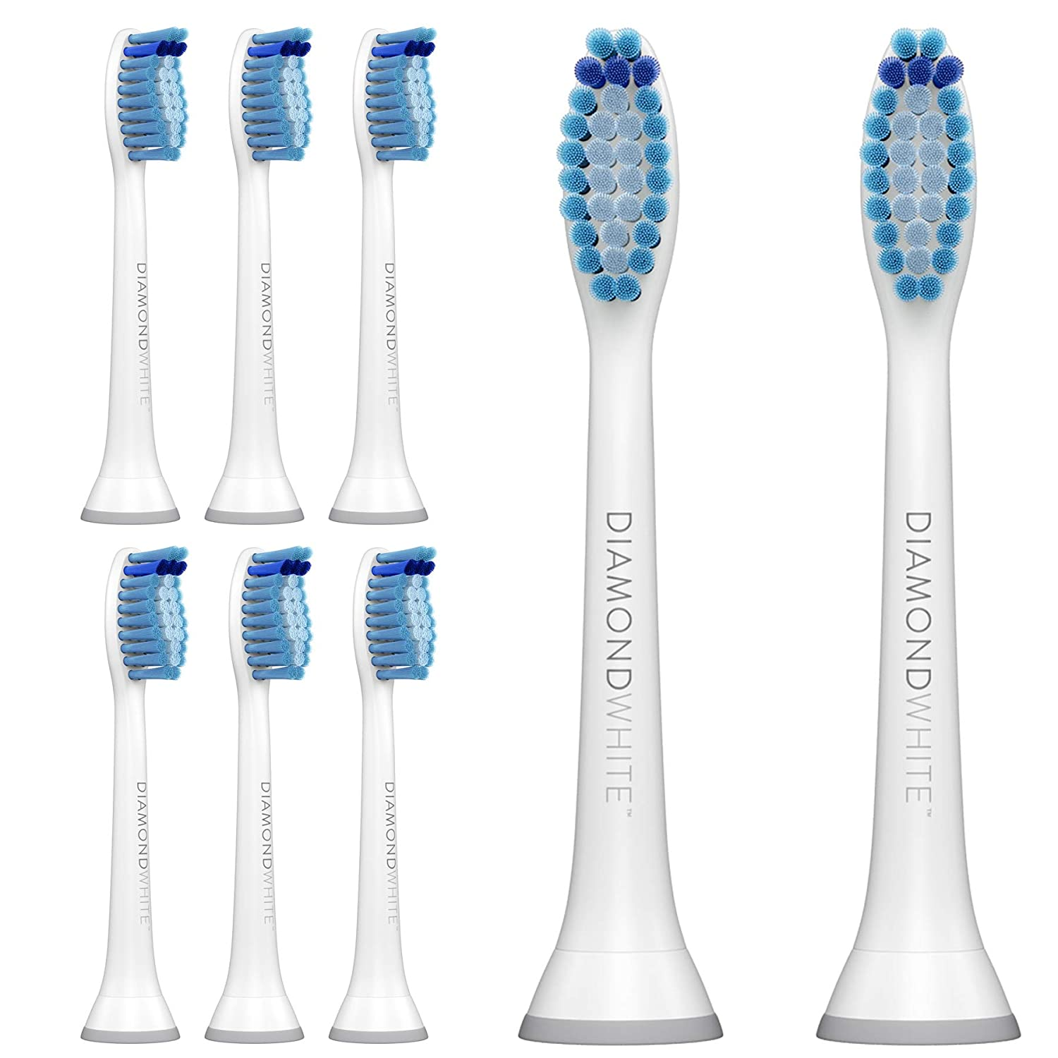 DiamondWhite Replacement Toothbrush Heads for Sonicare, Fits 2 Series, ProResults, FlexCare, Healthy White, Platinum, EasyClean, DiamondClean, Gum Health models (Blue - 8 Pack)