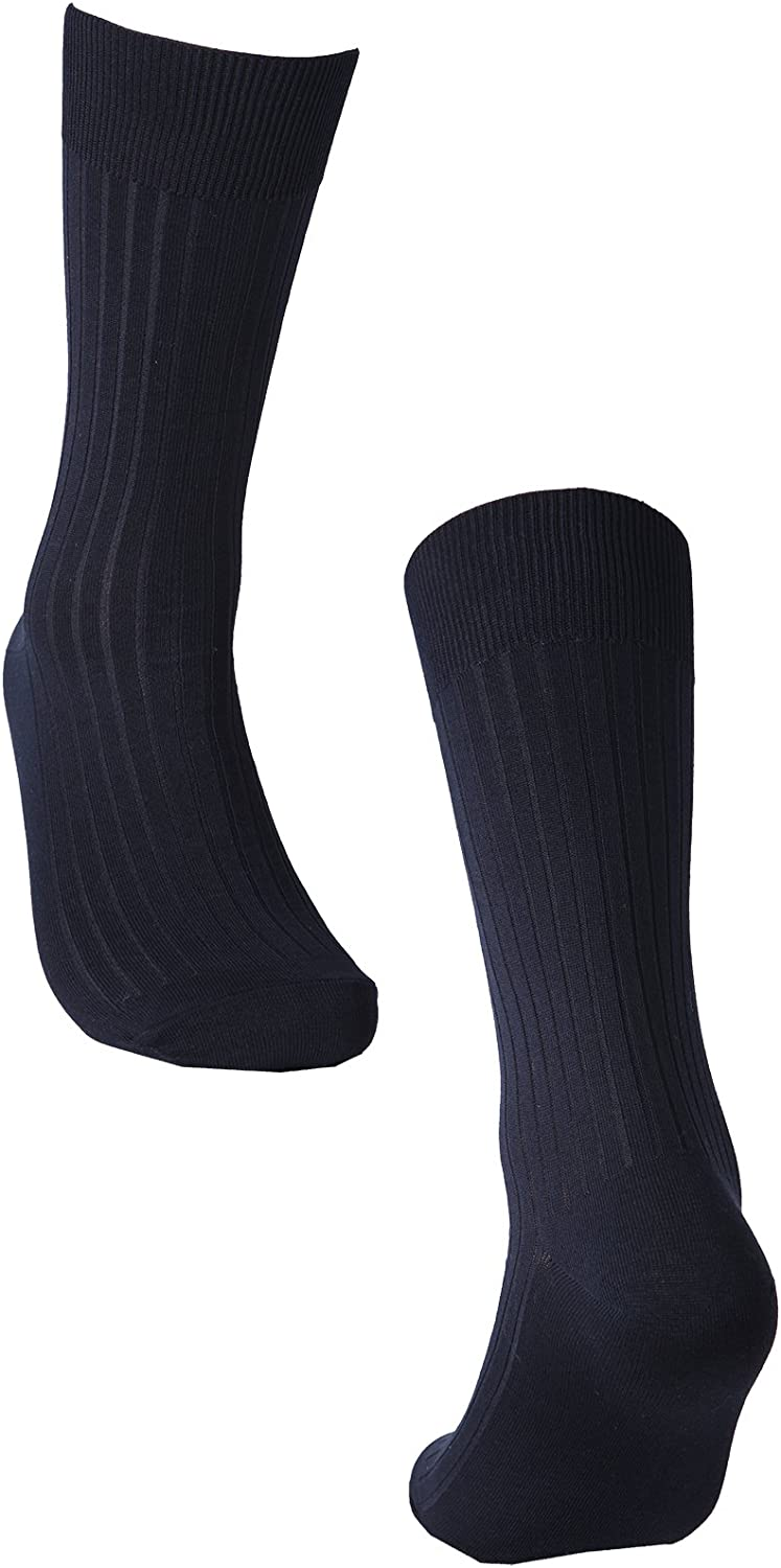 OSABASA Mens 3 Pack or 5 Pack Classics Dress Flat Knit Crew Socks