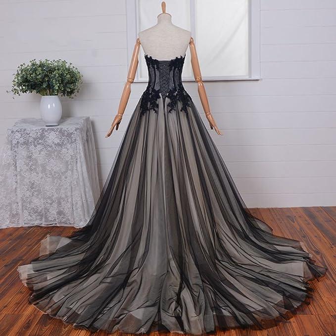Amazon.com: Kivary® Long Black and Champagne Lace Gothic Prom Wedding Dresses: Clothing