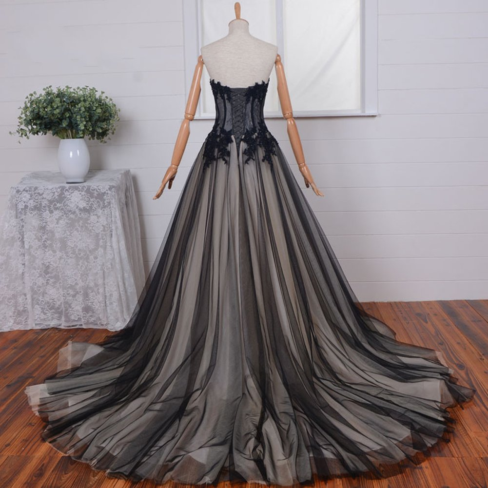 Kivary Sweetheart Long Black and Champagne Lace Tulle Gothic Corset Prom Wedding Dresses US12 by Kivary (Image #3)