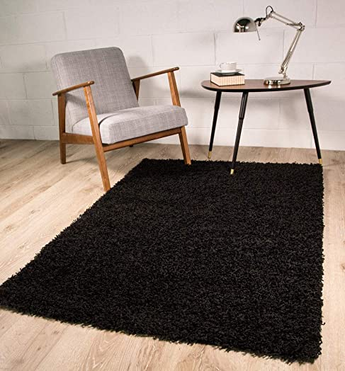 Ontario Soft Touch Cheap Modern Black Shag Pile Area Rug