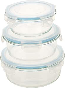 Homiu Glass Containers Food Storage Sets With Lids Three Piece Impact Resistant 14 22.9 33.4 Ounces Microwaveable Leak-Proof Dishwasher Freezer Oven Safe Nestable 6 Pack Round