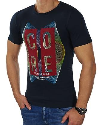 JACK & JONES Herren T-Shirt jcoFAITH jcoVANA Tee Rundhals Logoprint Bunt  Slim Fit (