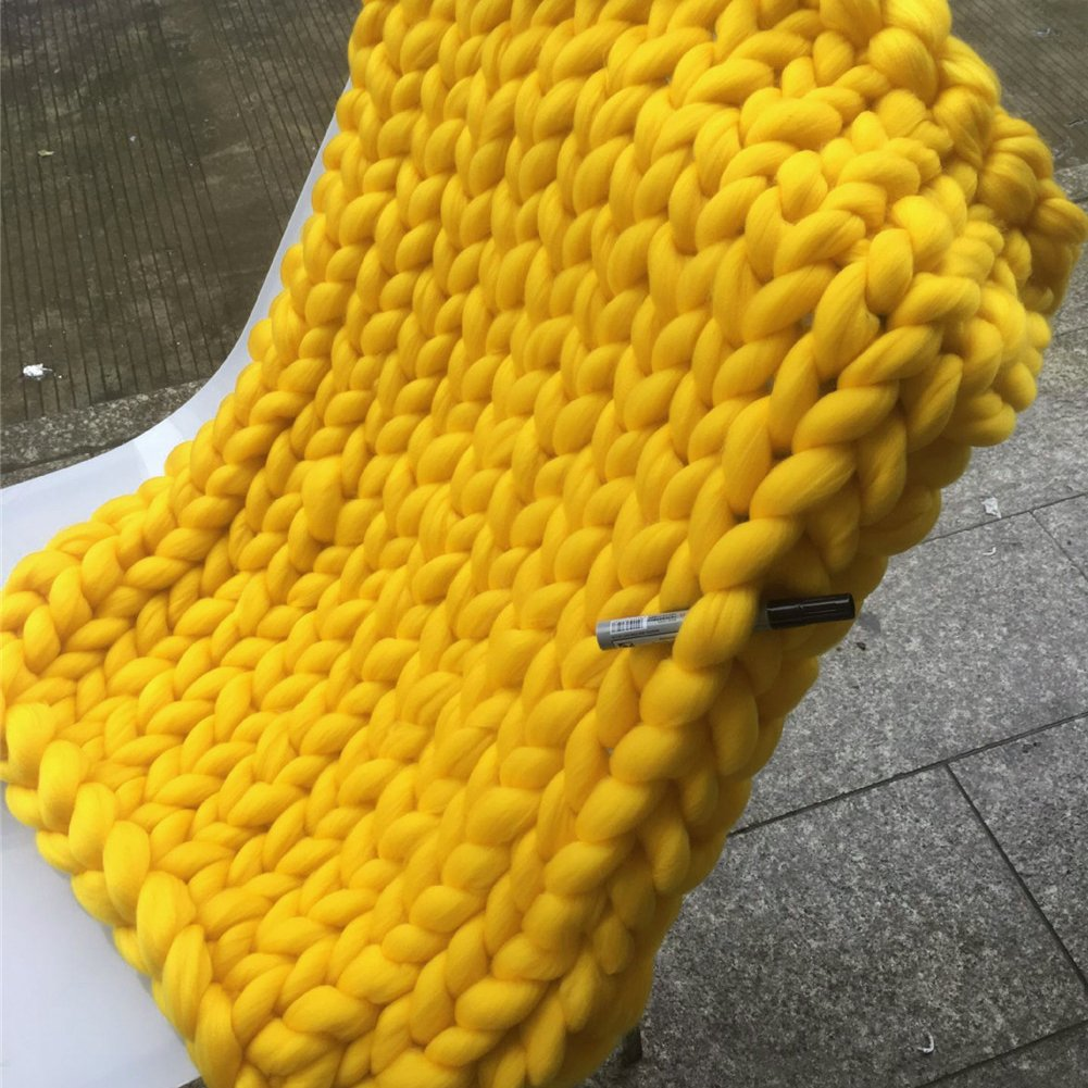 Per Giant Chunky Yarn Knit Handmade Blanket Extra-Large Thick Knitting Knitted Throw Blanket Fro Bed Sofa Baby Pet-Yellow,M