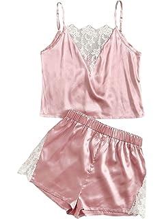 DIDK Womens Lace Trim Velvet Bralette and Shorts Pajama Set