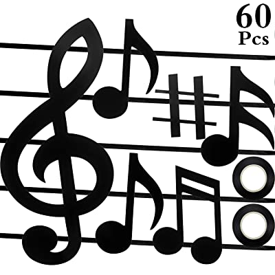 60 Pieces Music Notes Cutouts Mini Musical Notes Silhouettes with 2 Pieces Black Ribbons for Concert Party School Bulletin Board Craft Home Wall Decoration: Toys & Games