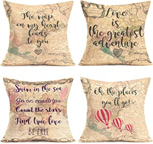 Hopyeer 4Pcs Valentine's Travel World Maps Theme Throw Pillow Covers Decor Cotton Linen Geographical Position Balloon Lover's Sweet Quote Saying Pillowcase Home Cushion Cover 18