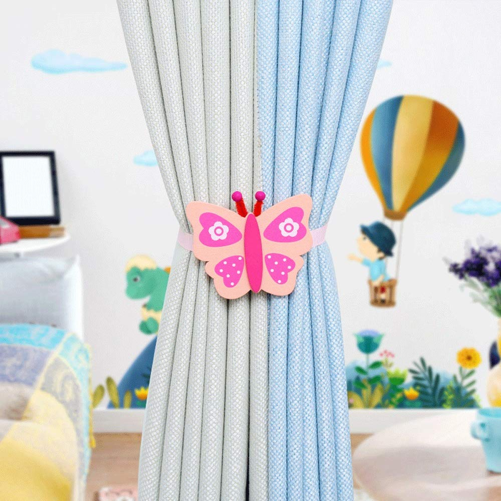 Curtain Tiebacks Clips Tie Back Clips Holdbacks 1 Pair Wood Cartoon Curtain Tiebacks Curtain Buckle Creative Free Installation Punch-free Curtain Clips For Children's Room ( Color : 3 , Size : 40cm ) by HANXIAODONG