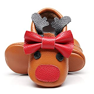 HONGTEYA Baby Girls Boys Christmas Moccasins - Premium Soft Sole Leather Reindeer for Infants Toddlers 7C-ZYXB-1CP9
