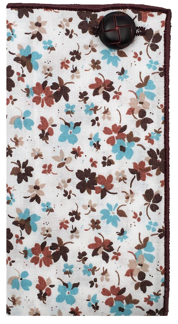 Blue & Brown Floral Print w/ Button Men's Pocket Square by The Detailed Male