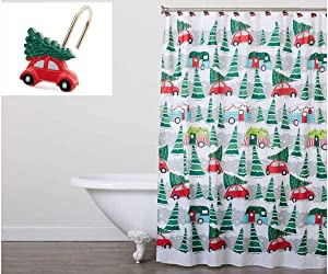 Winter Wonder Lane Volkswagen Red Beetle Bug Car, Camper & Christmas Tree Holiday Fabric Shower Curtain & Hook Set - 13 Pieces - 70x 72