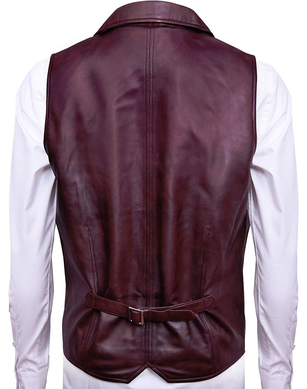 Infinity Leather Gli Uomini Liscia Capra Scamosciata Smart in Pelle Marrone Gilet