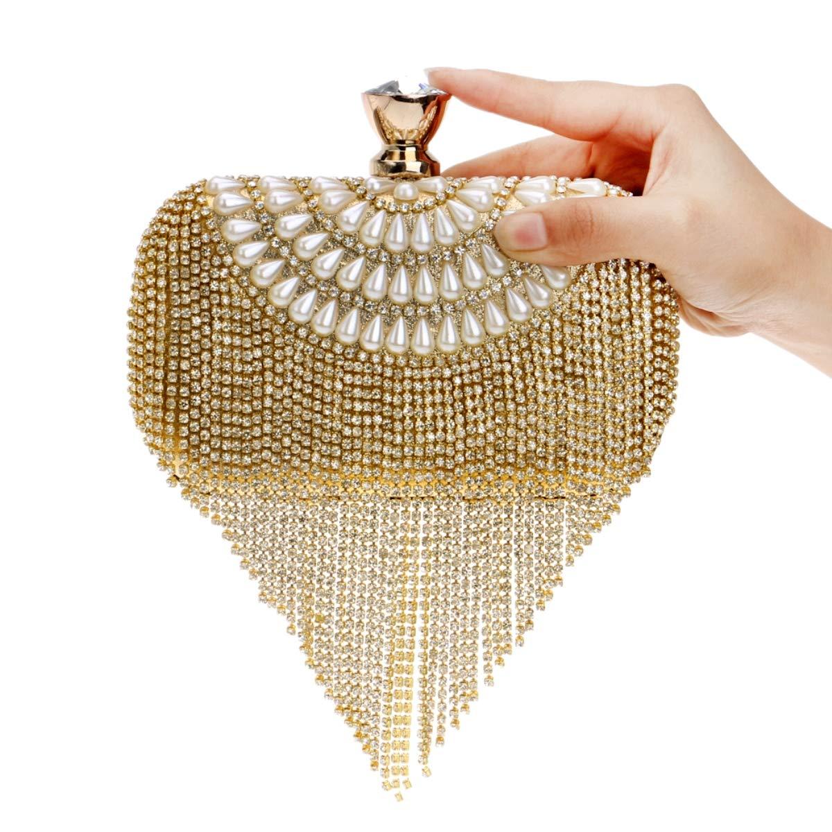 MKHDD kvinnor tofs koppling pärlor diamanter imitation pärlor liten handväska kedja axelväskor bröllopsfest aftonväska Guld