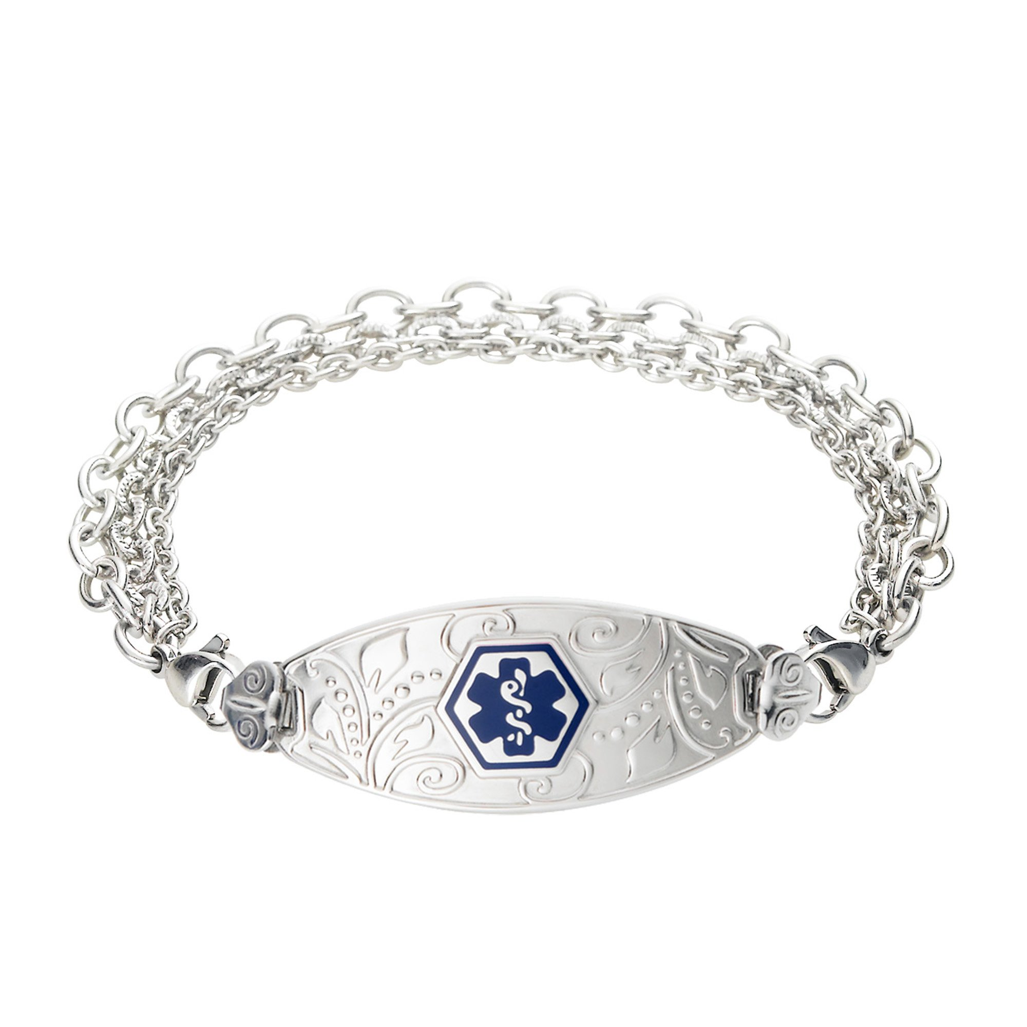 Divoti Custom Engraved Lovely Filigree Medical Alert Bracelet -Tri-Strand Stainless -Deep Blue-7.0''