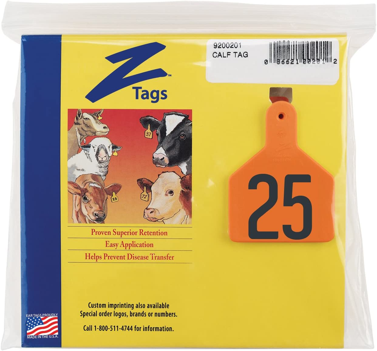 Orange Z Tags 1-Piece Pre-Numbered Hot Stamp Tags for Cows Numbers from 76 to 100