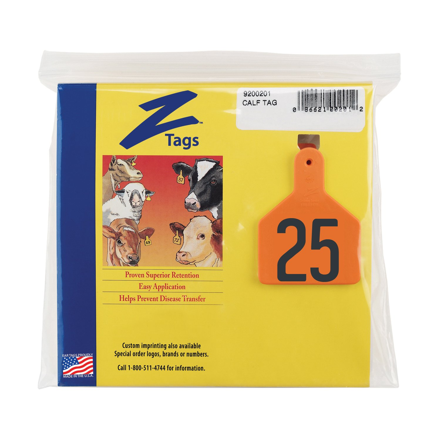 Numbers from 26 to 50 Z Tags 1-Piece Pre-Numbered Hot Stamp Tags for Calves Orange