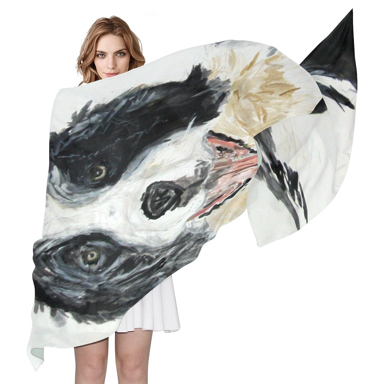 WDYSECRET Watercolor Shepherd Silk Printing Scarves for Women 70.86x35.4(in)