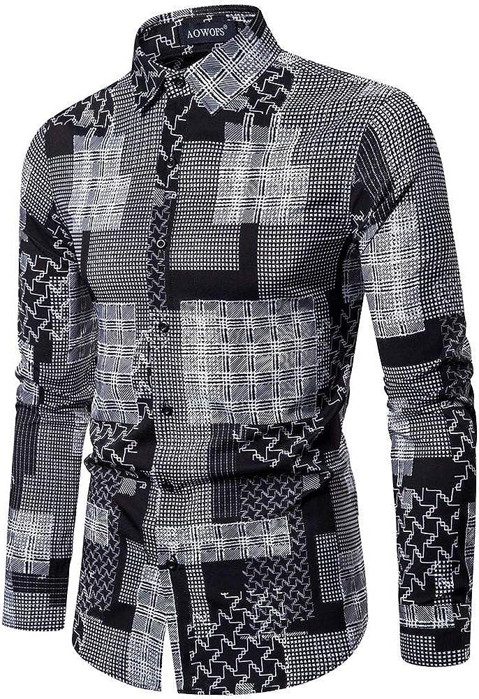 HCFKJ Camisas Hombre Manga Larga de Vestir Delgada con Estampado Vintage de Estilo éTnico Blusa Tops Negro 2XL: Amazon.es: Ropa y accesorios