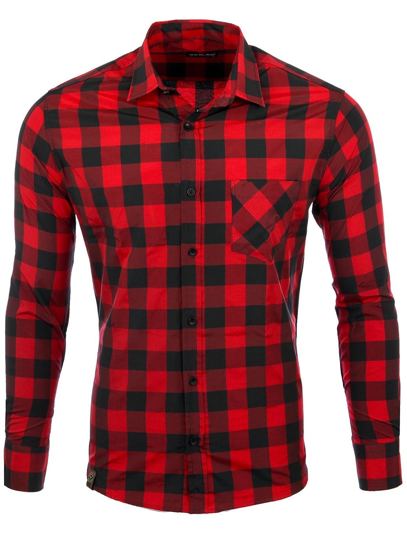Reslad Camisa a a cuadros para hombre Vintage leñador Camisa a cuadros Camisa de franela Camisa para hombre manga larga Checked franela camiseta RS-7113 rojo y negro L: Amazon.es: Ropa y accesorios