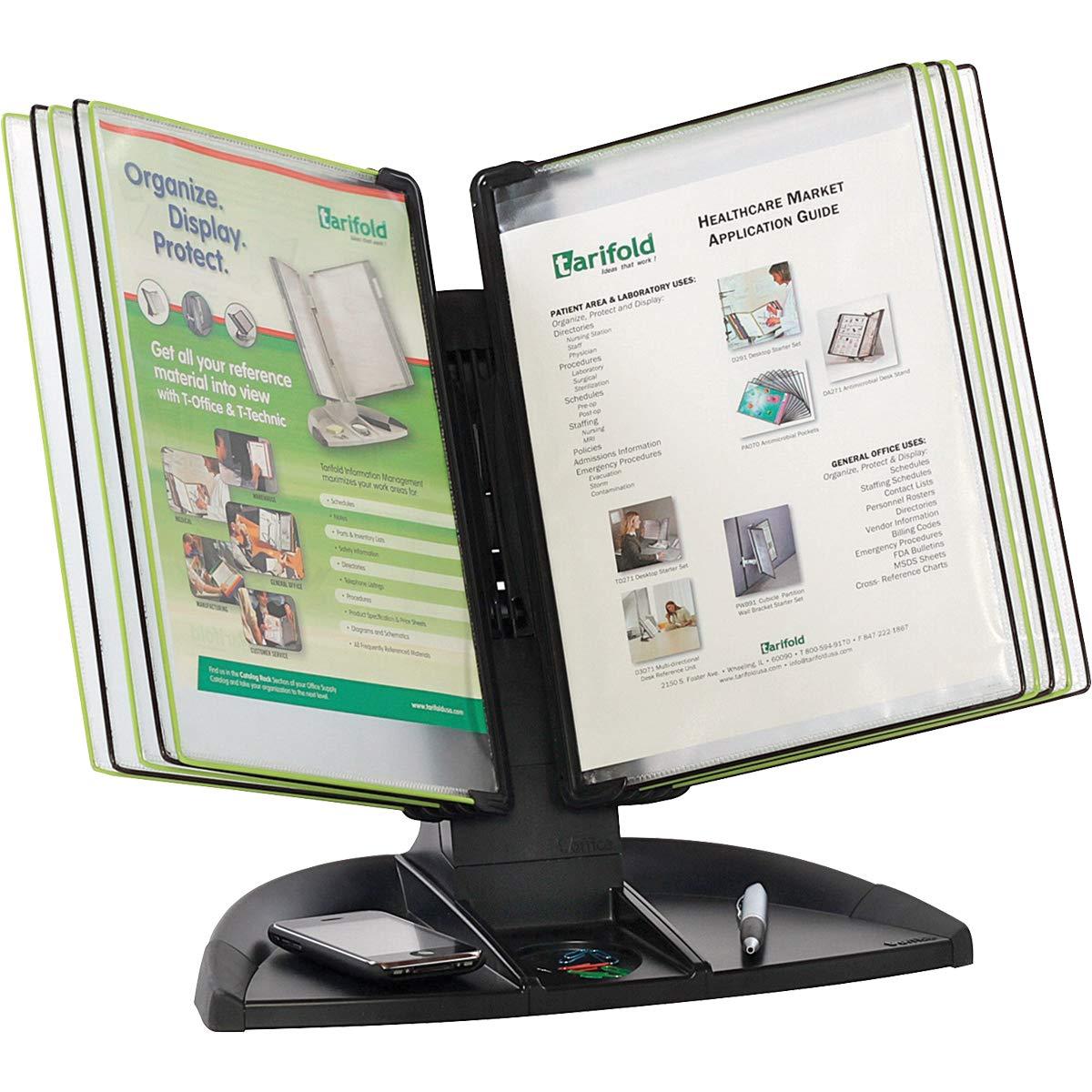 Tarifold Desktop Reference System With Built-in Desk Organizer, 10 Display Pockets, Black Base (TDBL291) by Tarifold