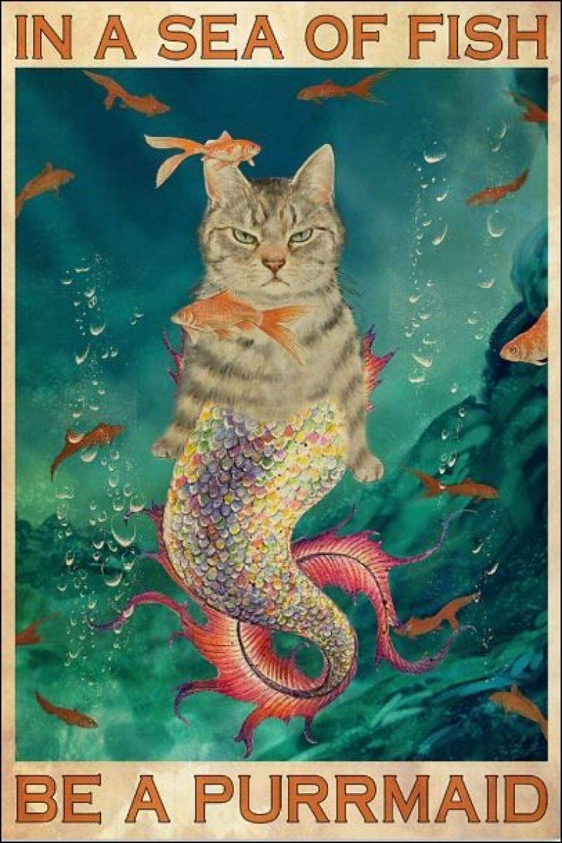 in A Sea of Fish Be A Purrmaid Retro Metal Tin Sign Vintage Aluminum Sign for Home Coffee Wall Decor 8x12 Inch