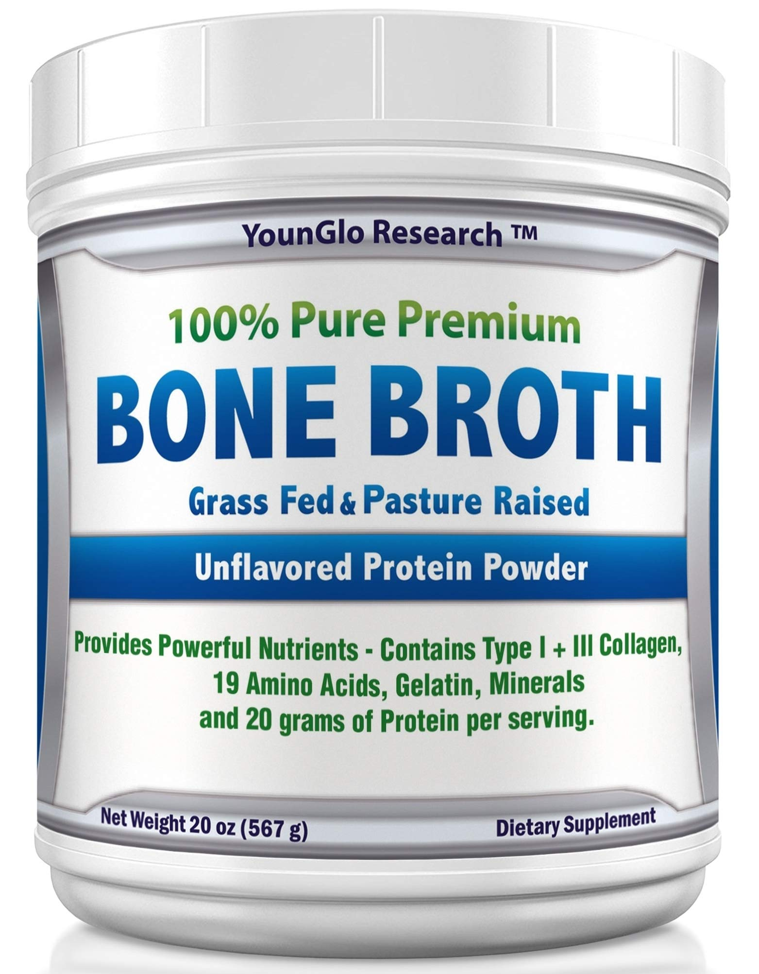 Bone Broth Protein Powder from Grass Fed Beef - 20oz - High in Collagen and Gelatin - Paleo and Keto Friendly - Unflavored (1 Pack) by YounGlo Research