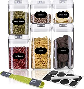 SAWAKE Airtight Food Storage Containers with Lids, 6 PC Set BPA Free Plastic Containers for Kitchen Pantry Organization and Storage, Leak-Proof Stackable Canister, Include Measuring Spoon & 10 Labels