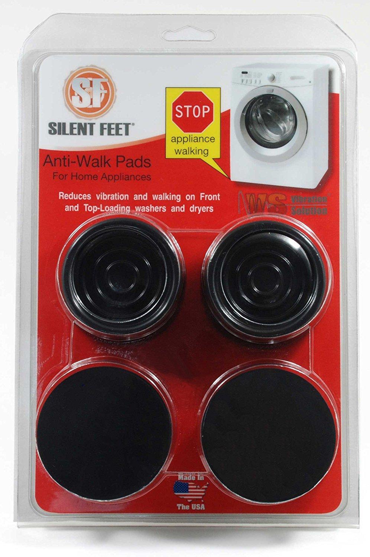 Anti-Walk Silent Feet - Anti-Vibration Washer and Dryer Machine Floor Pads (Black)
