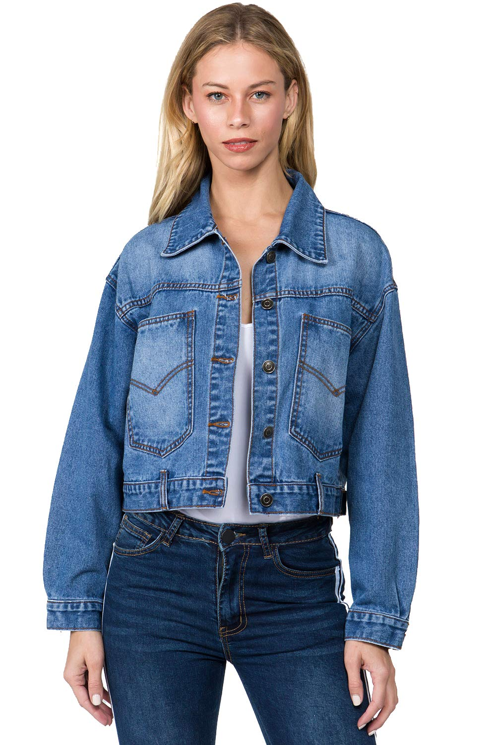 TwiinSisters Women's Boyfriend Loose Long Sleeve Big Pockets Denim Jacket with Button Closure Front and Back by TwiinSisters