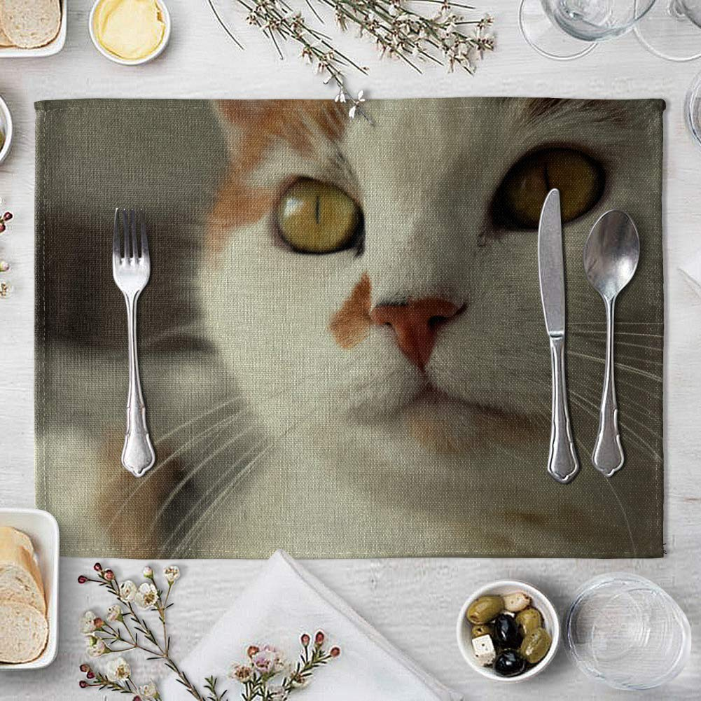 memorytime Cute 3D Cat Print Placemat Pad Linen Dining Table Insulation Mat Home Decor Kitchen Dining Supplies - 6# by memorytime (Image #9)