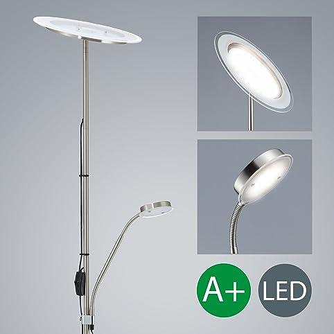 led stehlampe inkl led platine 230v ip20 20w led stehleuchte modern deckenfluter mit leselampe led standleuchte - Wohnzimmer Stehlampe Led