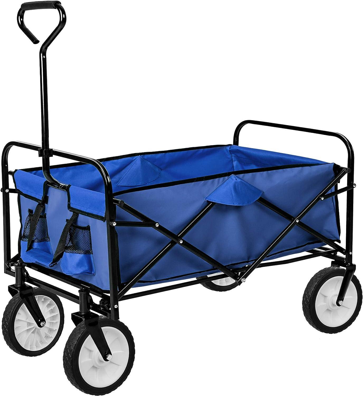TecTake Carro de Mano Plegable y abatible Carrito de Transporte | Carga 80kg (Azul | no. 402595)