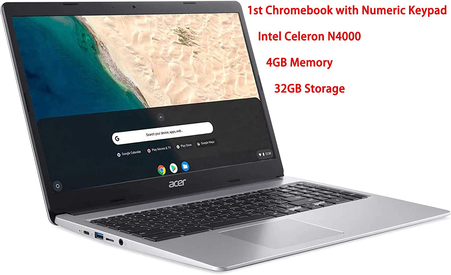 Acer 15.6inch Chromebook-Intel Celeron N4000 Processor, 4GB RAM, 32GB SSD, Intel UHD Graphics, Numeric Keypad, WiFi, Bluetooth, Chrome OS-(Renewed)