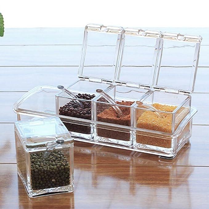 Caja para condimentos, acrílico transparente, para cocina, cuatro en uno, botes para especias con cucharas y tapas: Amazon.es: Hogar