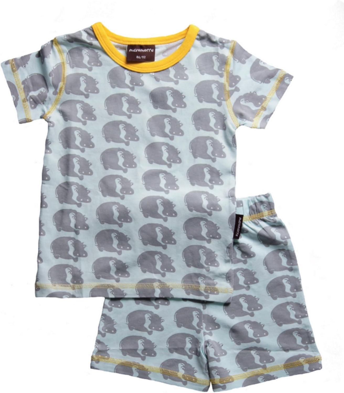 maxomorra Pijama Pijama niño Hippo hipopótamo gris GOTS algodón ...