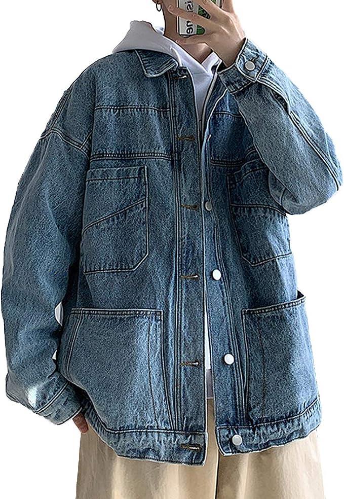 [もうほうきょう] メンズ デニムコート ゆったり デニムジャケット カジュアル シンプル ジージャン 春 秋 アウター 2色 S-2XL