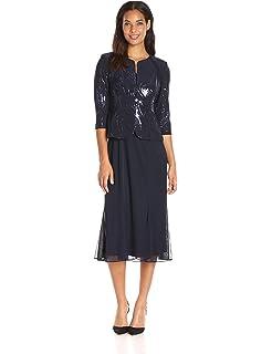 5389261326efb Alex Evenings Women's Tea Length Mock Dress with Sequin Jacket (Petite and  Regular Sizes)