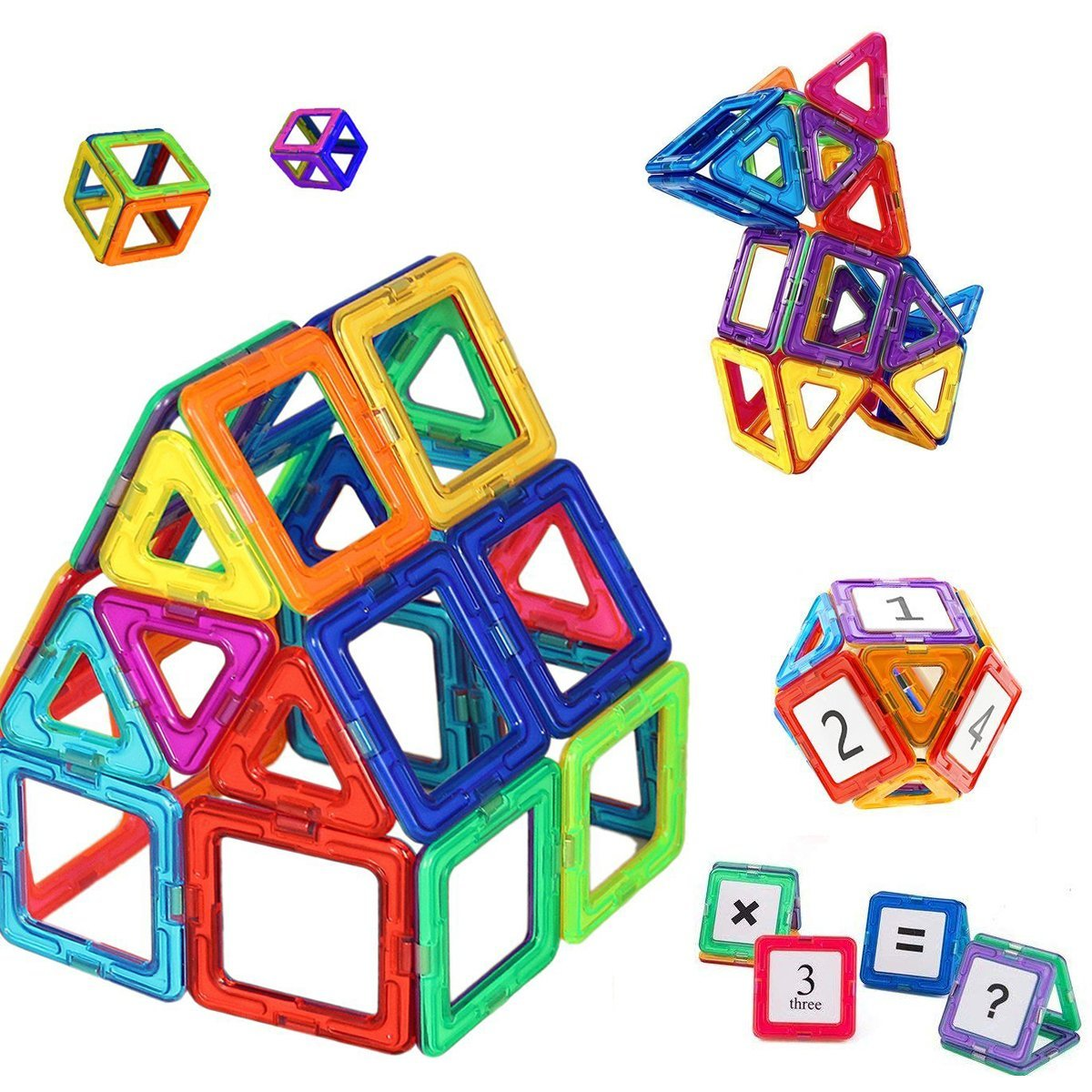 Mini Butterballe 56 Pcs Magnetic Building Blocks Tile Set, STEM Educational Learninig Toys for Kids, Magnet Stacking Blocks Preschool Construction Kits for Toddler