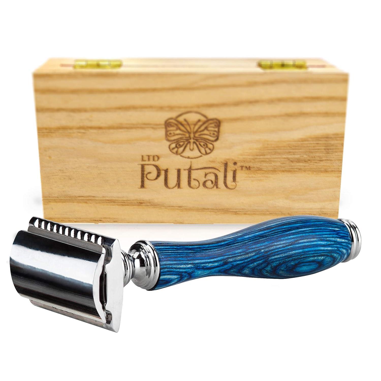 Putali Ltd. | Premium Double Edge Safety Shaving Razor for Men or Women– No Slip Eco Friendly Pakkawood Handle | Sedona (Brown)
