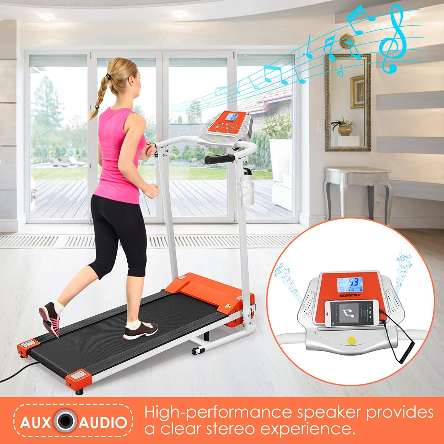 BESPORTBLE Folding Treadmill Exercise Running Machine with LCD Monitor