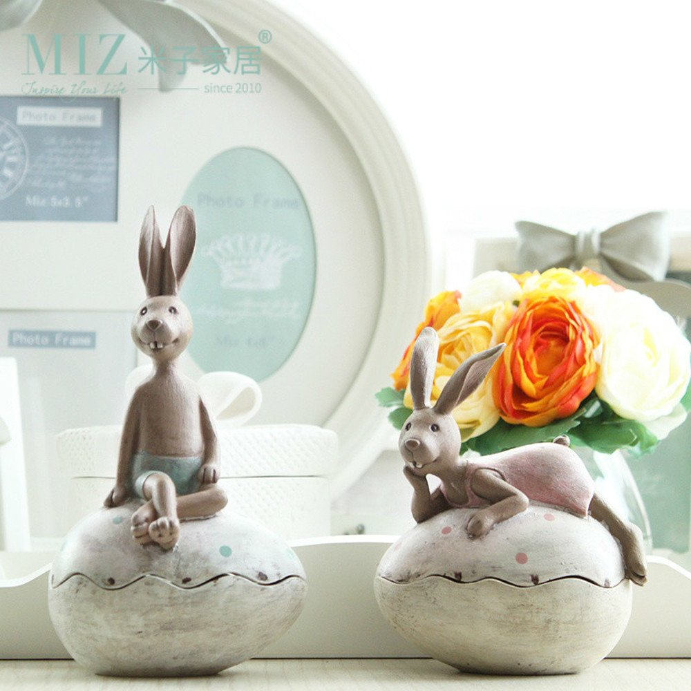 Bwlzsp 1 pair American country cartoon cute lovers rabbit bunny egg ring jewelry box storage storage resin placement LU710104
