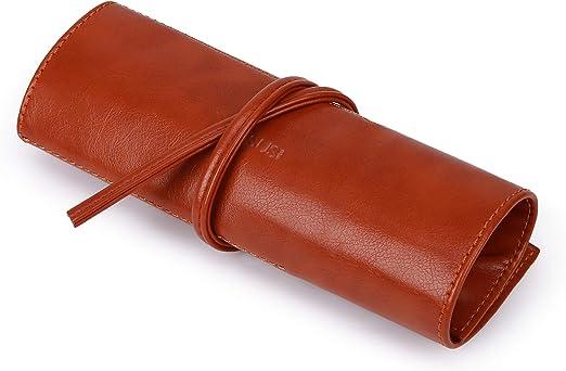 ECOSUSI Estuches Escolares Cuero De La PU Estuche Pequeño Bolso Del Lápiz Caja de Lápices Para Chicos y Chicas,Marrón: Amazon.es: Oficina y papelería