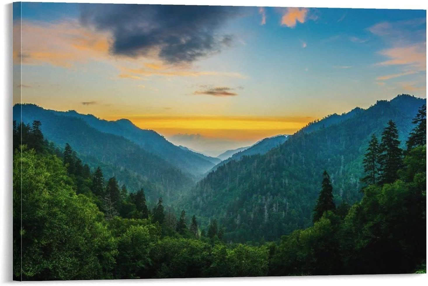 Wall Art Canvas Great Smoky Mountains National Park North Carolina Frame-color1 20×30inch(50×75cm) Wall Decor Canvas Artwork Picture