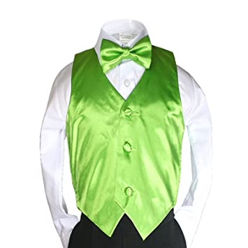 f36057cda Amazon.com: New 2pc Boys Satin Lime Green Vest and Bow tie Set from ...