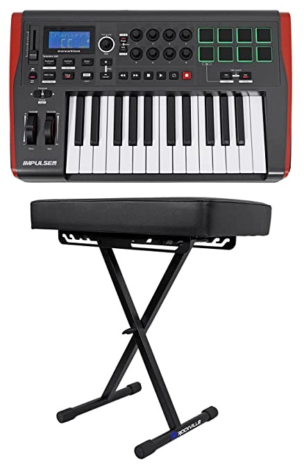 Novation IMPULSE 25 Ableton Live 25-Key MIDI Keyboard Controller + Padded Bench
