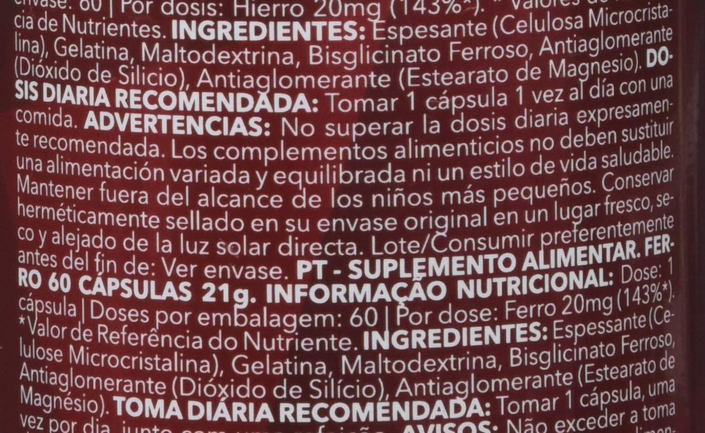 Prozis Iron, Hierro - 20 mg, 60 cápsulas: Amazon.es: Salud y cuidado personal